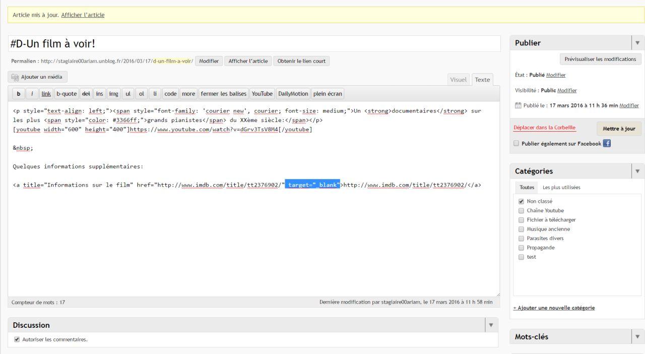 Le blog d mo du stage logiciels audionum riques gratuits for Lien html nouvelle fenetre